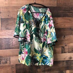 SHEIN Hawaiian Print Flutter Sleeve Blouse